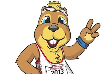 Ostap the gopher, official mascot of the 2013 IAAF World Youth Championships (IAAF)