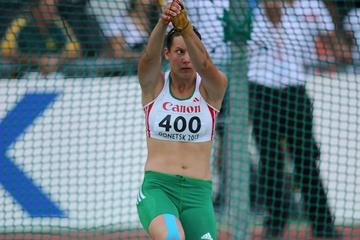 Reka Gyuratz of Hungary on her way to gold in the hammer at the 2013 World Youth Championships (Getty Images)