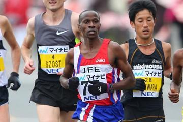 Joseph Gitau en route to his victory in Fukuoka (Kazuaki MATSUNAGA/Agence SHOT)