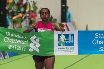 Rehima Kedir winning at the 2014 Standard Chartered Hong Kong Marathon (Organisers)