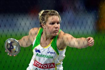 In the cage Dani Samuels of Australia on her way to throwing a lifetime best of 65.44m to secure the World Championships title (Getty Images)