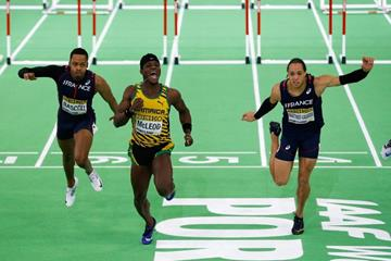 Omar McLeod wins the 60m hurdles at the IAAF World Indoor Championships Portland 2016 (Getty Images)