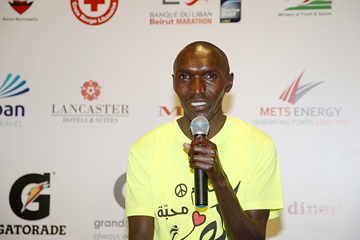 Elijah Kemboi at the press conference for the Beirut Marathon (Organisers)