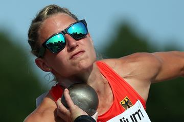 Germany's Carolin Schafer in the heptathlon shot put (Getty Images)