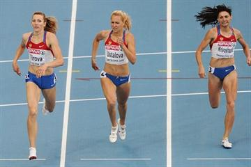 Russian 400m sweep in Barcelona - winner Tatyana Firova, runner-up Kseniya Ustalova, and bronze medallist Antonina Krivoshapka (Getty Images)