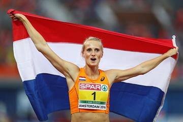 Anouk Vetter after winning the European Heptathlon title in Amsterdam (Getty Images)