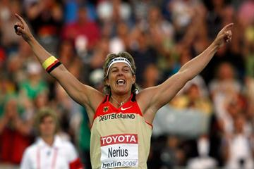 Steffi Nerius of Germany celebrates a throw in the women's Javelin Throw final (Getty Images)