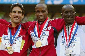Paris podium - Martin (bronze), Shaheen (gold) and Kemboi (silver) (Getty Images)
