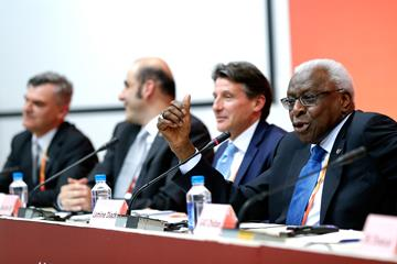 IAAF President elect Sebastian Coe (2nd right) and IAAF President Lamine Diack (right) at the IAAF/Local Organising Committee (LOC) press conference during day nine of the IAAF World Championships, Beijing 2015 (Getty Images)