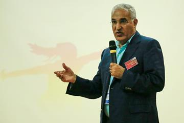 Malek El-Hebil speaking at the 2nd IAAF World Youth Coaches Conference in Cali (Getty Images)