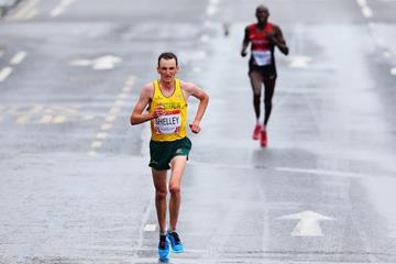 Michael Shelley on his way to the Commonwealth marathon title (Getty Images)