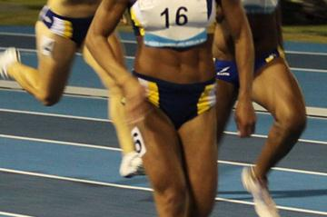 Brazilian Ana Cláudia Lemos Silva on her way to 100m title and record at 2010 South American U23 in Medellín (Raul Soto)