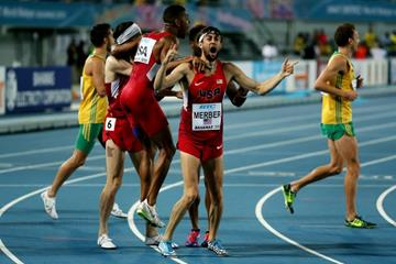 USA celebrate their world record in the distance medley at the IAAF/BTC World Relays, Bahamas 2015 (Getty Images)
