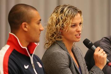 Natallia Dobrynska speaks at the press conference in Sopot (Getty Images)