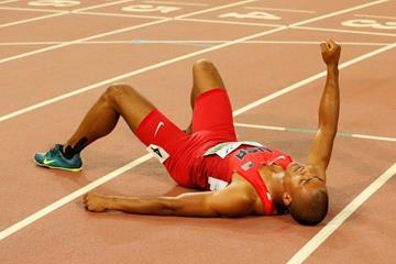 Ashton Eaton after breaking the decathlon world record at the IAAF World Championships, Beijing 2015 (Getty Images)