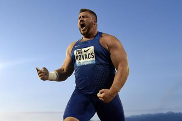 Joe Kovacs at the 2016 IAAF Diamond League meeting in Eugene (Kirby Lee)