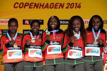 The Kenyan team receive their team gold medal at the 2014 IAAF World Half Marathon Championships in Copenhagen (Getty Images)