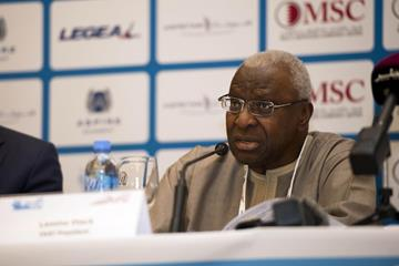 Lamine Diack at the 2014 IAAF Diamond League press conference in Doha (Deca TxT)