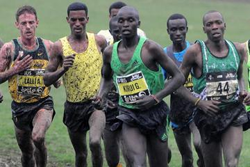 Kenya's Gilbert Kirui leads the way at the 2012 IRIS Lotto Crosscup event in Brussels (Nadia Verhoft)