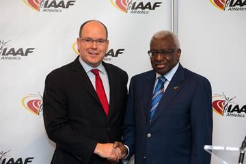 His Serene Highness Prince Albert II of Monaco and IAAF President Lamine Diack on 21 November 2014 (IAAF / Philippe Fitte)