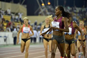 Eunice Sum winning the 800m at the 2014 IAAF Diamond League in Doha (Deca Text & Bild)