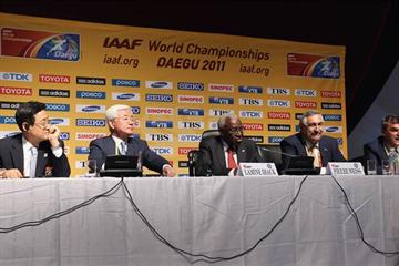 From left to right: M. Dong-Hoo Moon, M. Hae-Nyoung Cho, IAAF President Lamine Diack, Pierre Weiss and Nick Davies at the IAAF Press Conference in Daegu, Korea (Getty Images)