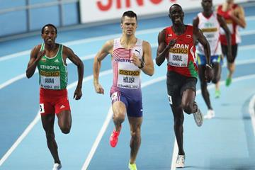(L-R) Mohammed Aman of Ethiopia, Jakub Holusa of the Czech Republic and Ismail Ahmed Ismail of Sudan race for the line in the Men's 800 Metres first round during day one - WIC Istanbul (Getty Images)