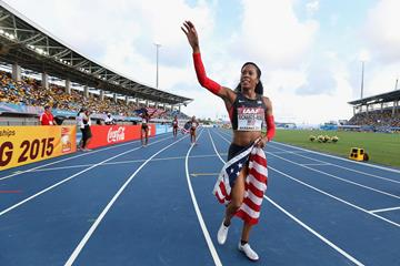 Sanya Richards-Ross of the United States waves to fans after winning the women's 4x400m at the IAAF World Relays (Getty Images)