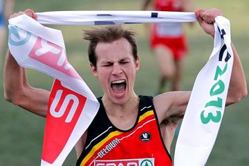 Pieter-Jan Hannes winning the 2013 SPAR European Cross Country Championships under 23 title (Getty Images)