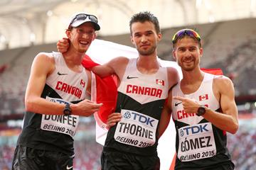 20km race walk bronze medallist Ben Thorne (centre) with Canadian team-mates Evan Dunfee (left) and Inaki Gomez (right) at the IAAF World Championships, Beijing 2015 (Getty Images)