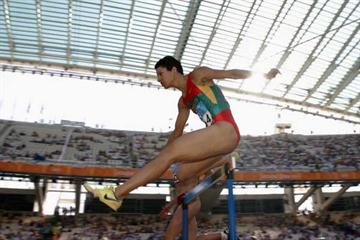 Nezha Bidouane of Morocco in the heats of the 400m Hurdles (Getty Images)
