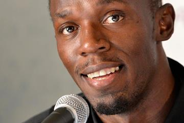 Usain Bolt at the press conference for the 2013 Oslo IAAF Diamond League (Anders Sjogren)