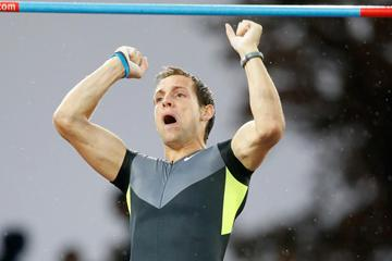 Renaud Lavillenie celebrates his victory at the Diamond League final in Zurich (Gladys Chai)