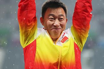 Zhao Qinggang celebrates his Asian record in the javelin at the Asian Games (Getty Images)