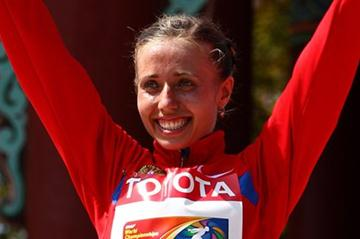 Olga Kaniskina celebrates winning her third consecutive World Championships gold medal (Getty Images)