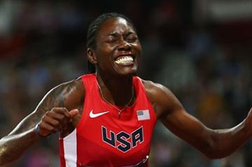 Brittney Reese of the United States celebrates winning gold in the Women's Long Jump Final on Day 12 of the London 2012 Olympic Games at Olympic Stadium on August 8, 2012 (Getty Images)