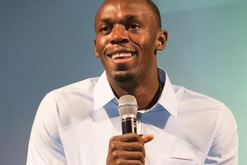 Usain Bolt talks to the press after winning the 2013 IAAF World Athlete of the Year award (Philippe Fitte)