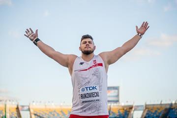 Shot put winner Konrad Bukowiecki at the IAAF World U20 Championships Bydgoszcz 2016 (Getty Images)