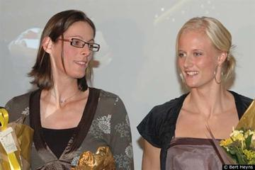 Tia Hellebaut and Carolina Klüft in the Hall of Honour of the King Baudouin Stadium in Brussels (Bert Heyns)