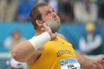 Ryan Whiting threatens 22m with his 21.97m PB in Eugene (Kirby Lee)