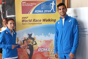 Antonella Palmisano and Marco De Luca at the 'One Month To Go IAAF World Race Walking Team Championships Rome 2016' presentation  (FIDAL / organisers)
