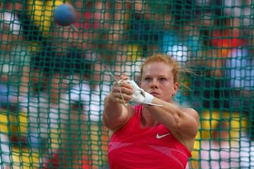 World silver medallist Betty Heidler takes the win in the women's Hammer in Thessaloniki, Greece with 72.03m (Getty Images)