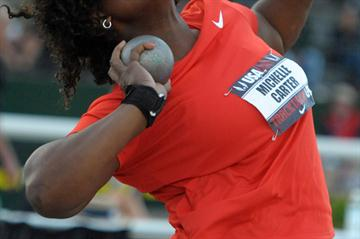 Michelle Carter improves to 19.86m in Eugene (Kirby Lee)
