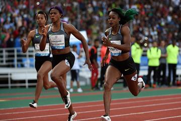 Elaine Thompson en route to her 100m win in Rabat (Kirby Lee)