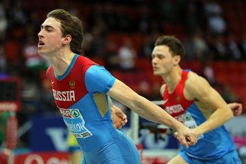 Sergey Shubenkov finishes ahead of Konstantin Shabanov in the 60m hurdles (Getty Images)