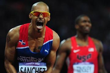Felix Sanchez of Dominican Republic celebrates after winning the gold medal in the Men's 400m Hurdles final on Day 10 of the London 2012 Olympic Games on 6 August 2012 (Getty Images)