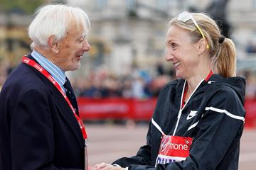 John Disley and Paula Radcliffe after the 2015 London Marathon (Getty Images)