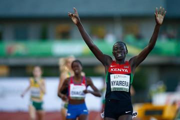 Margaret Nyairera Wambui wins the 800m at the IAAF World Junior Championships, Oregon 2014 (Getty Images)