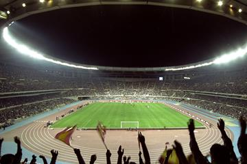 The Olympic Stadium in Seville on the night of its inauguration, 5 May 1999 (Getty Images)