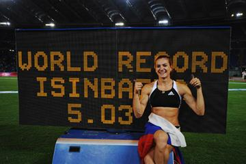 Yelena Isinbayeva with her new world record figures (Getty Images)